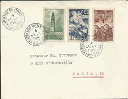 1949 - N° 669 + 567 + 489 Oblitérés Sur Lettre - CENTENAIRE DU TIMBRE  PARIS 4 JUIN 1949 - Frankrijk