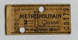 Ancien Ticket Métro Métropolitain L 2ème Classe Publicité Rasoir Pour être Bien Rasé Lame RB  RAZOR BLADES Poinçonné - Europe