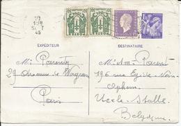 1945 - N° 671 (x2) + 689 Oblitérés Sur Entier Postal 651 - CP1 - Envoi Vers Belgique - France