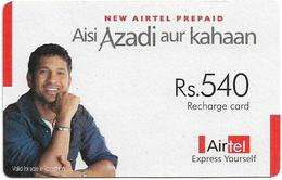 India - Airtel - Man On Blue Shirt, GSM Refill 540₹, Used - India