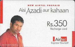 India - Airtel - Man On Red Shirt, GSM Refill 350₹, Used - India