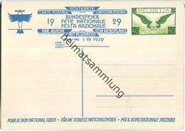 Bundesfeier-Postkarte 1929 - 40 Cts - J. Courvoisier Zwei Knaben Hissen Banner - Interi Postali