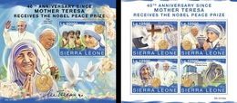 Sierra Leone 2019, Mother Teresa, Pope J. Paul II And Francis, 4val In BF +BF - Mutter Teresa