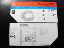 Entry Ticket To Olympic Games Winter Montreal 1976 Canada Athletics - Eintrittskarten
