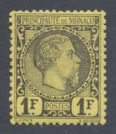 Monaco - 1885 Prince Charles III 1F Mint Hinged Michel No. 9 - Neufs