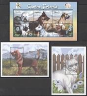 O577 UGANDA PETS DOGS & CATS CANINE FRIENDS 2BL+1KB MNH - Hunde