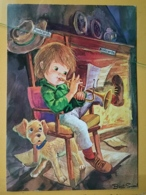 KOV 8-172 - NEW YEAR, Bonne Annee, Children, Enfant, Trompette, Dog, Chien - Nouvel An