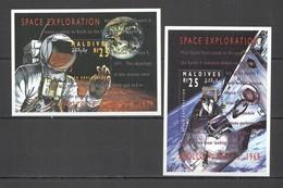 S019 MALDIVES SPACE EXPLORATION APOLLO 9 APOLLO 14 ALAN SHEPARD 2BL MNH - Space