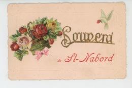 """SAINT NABORD - Jolie Carte Fantaisie Avec Ajoutis Fleurs Et Oiseau """"Souvenir De SAINT NABORD """" - Francia"""