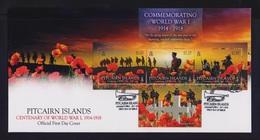 PITCAIRN ISLAND 2014 WORLD WAR I ADAMSTOWN SET STAMPS ON OFFICIAL FDC - Francobolli