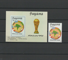 Guyana 1989 Football Soccer World Cup Stamp + S/s MNH - 1990 – Italien