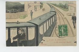 """BUSSANG - Jolie Carte Fantaisie Homme Dans Train """"Je Pars De BUSSANG Et Vous Envoie Mes Amitiés """" - Bussang"""