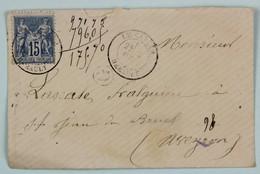 Lettre 1882 Boite Rurale G Le Caylar, Herault --> St Jean De Bruel, Aveyron, Affr. 15 C Type Sage - Marcophilie (Lettres)