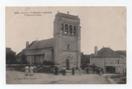 Saint-Martin-La-Méanne (Corrèze-19) - L'église Et La Place - Animée - Non Voyagée - Très Bon Etat.- N° 330. - Autres Communes