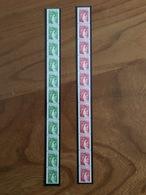LOT De 2 BANDES DE 11 ROULETTES SABINE - Rouge 1.60F Et Vert 1.40F - Y&T 2157 Et 2158 - 1981 - Neuf ** - Coil Stamps