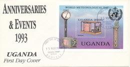 Uganda FDC 15-3-1991Souvenir Sheet World Metorological Day With Cachet - Uganda (1962-...)