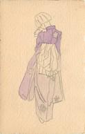 -ref C34- Illustrateurs - Illustrateur - Carte Dessinée Aquarelle - Femme En Kimono - Femmes - Japon Ou Chine - - 1900-1949