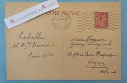 Entier Postal - Paris > Lyon 1941 - Maison Bauer Tissage Forézien - Type Iris 431 - Carte Postale Ww2 - Forez - Otros