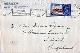 B - 1935 Gibilterra - Busta Per Zurigo- American Consul Of The Mediteranean - Gibraltar