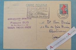 Entier Postal - Nice > Bordeaux 1960 Quincaillerie Droguerie François BUS - Timbre N°1233 Cachet Aéroport Carte Postale - Non Classés