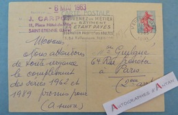 Entier Postal Saint-Etienne > Paris 1963 - CARPOT - Timbre N°1233 Cachet Aéroport Carte Apprenez Un Métier Du Bâtiment - Entiers Postaux