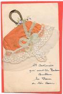 BONNET Sainte Catherine Orange à Dentelle Et Broderie, Fer à Cheval + Fleurs Peints Main - Mechanical