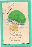 BONNET Sainte Catherine Vert à Dentelle, Rubans, Broderie De Petites Fleurs - Mechanical
