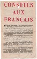 WW2 - Conseils Aux Français. Texte D'une Communication Diffusée De Londres Par Le Haut Commandement Interallié - Documentos Históricos