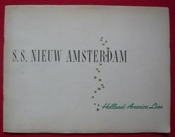 Plaquette Du Paquebot  S. S. Nieuw Amsterdam Holland-America Line 1950 - Esplorazioni/Viaggi