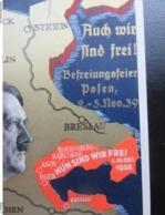 """Postkarte Propaganda Hitler Sudetenland 1938 + Aufkleber """"Nun Sind Wir Frei"""" + Zudruck Polen """"Auch Wir Sind Frei"""" RRR - Germany"""