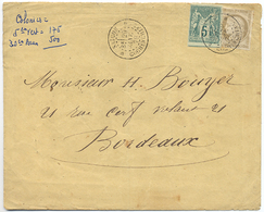 1879 COCHINCHINE LETTRE POUR LA FRANCE AFFRANCHIE 30c CERES ET 5c SAGE OBLITERES SAIGON 29 JANV 79 COCHINCHINE - Indochine (1889-1945)
