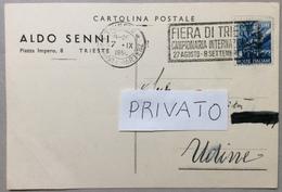 1950 TRIESTE 15 £ Democratica Sovrastampa FIERA DI TRIESTE / Annullo Mecc FIERA DI TRIESTE CAMPIONARIA INTERNAZIONALE - 6. 1946-.. Repubblica
