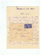 LETTRE DEPART DE LANDRECIES ( NORD) Pour FELLERIES (NORD) 1941 - Marcophilie (Lettres)