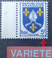R1949/1472 - 1954 - BLASON DE LA SAINTONGE - N°1005 NEUF** BdF - VARIETE ➤➤➤ Bavures Cadre Droit Et Sous La Signature - Abarten Und Kuriositäten