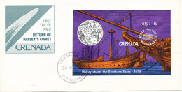 Grenada FDC 25-4-1989 Souvenir Sheet Return Of Halley's Comet With Cachet - Grenade (1974-...)
