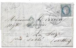 Guerre 70 Lettre De PARIS 13/02/71  Pour La SARTHE  TAXE Allemande  20 Bleu Département Occupé - 1849-1876: Période Classique