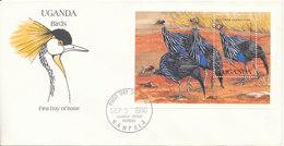 Uganda FDC 3-9-1990 BIRDS Souvenir Sheet With Cachet - Ouganda (1962-...)