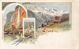 Suisse Muerren Gruss Aus Litho Long Address Postcard - Schweiz