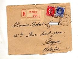 Lettre Recommandée Le Raincy Sur Ceres Petain - Poststempel (Briefe)
