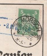 Deutsches Reich Karte Mit Tagesstempel Mörsch Amt Ettlingen 1926 KOS Stempel - Covers & Documents