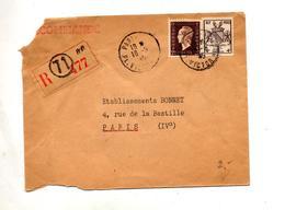 Lettre Recommandée Paris Sue Dulac Armoirie Strasbourg - Marcophilie (Lettres)