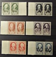 12 - 19 //  France - 1949 - N° 853 à 858   En Paire **  - MNH  -  Hommes Célèbres Cote : 62 Euros - France
