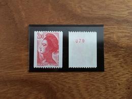 ROULETTE LIBERTÉ - Rouge 2.00F - Y&T 2277 Et 2277a - 1983 - Neuf ** - Coil Stamps