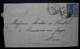 Châlons Sur Marne 1882 Faron Ancienne Maison Galichet Fils Lettre Pour Cousances Aux Forges Convoyeur Au Revers (Meuse) - Postmark Collection (Covers)