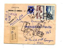 Lettre Recommandée Caen Sur Evian Valencay + Retour - Poststempel (Briefe)