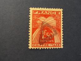 """1943-46 TAXES Légende """"CHIFFRE TAXE"""" Gerbes De Blé    -    Oblitéré N° 71  """"  1f50 Rouge Orangé""""        Net       3 Euro - Taxes"""