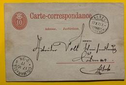 9681 - Entier Postal 10 Ct Rouge No 11  Basel 10.10.1877 Pour Colmar - Entiers Postaux