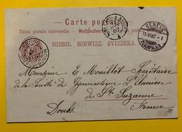 9682 - Entier Postal 10 Ct Rouge Genève Plainpalais 13.06.1897 Pour Montbéliard - Entiers Postaux