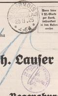 Deutsches Reich Karte Mit Tagesstempel Obermois BZ Breslau 1925 KOS Stempel Porto Verrechnung Regensburg 2 Schlesien - Cartas