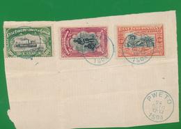 BELGIAN CONGO FRAGMENT PWETO 24.10.1903 3.50 F VERTICAL CREASE - Congo Belge